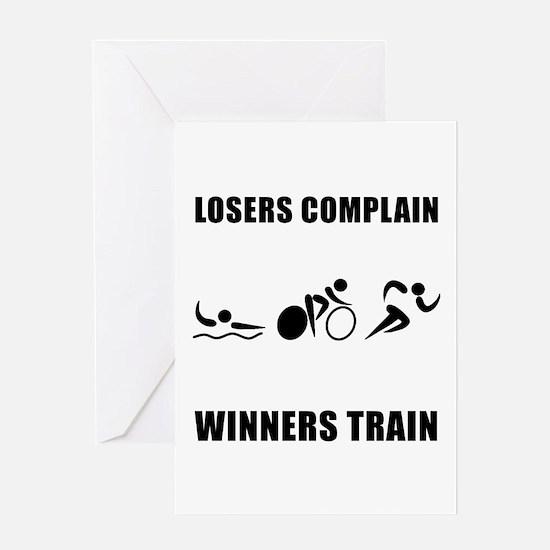 Triathlon Winners Train Greeting Card