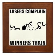 Triathlon Winners Train Framed Tile