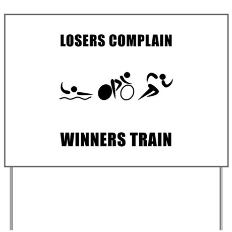 Triathlon Winners Train Yard Sign