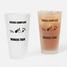 Triathlon Winners Train Drinking Glass