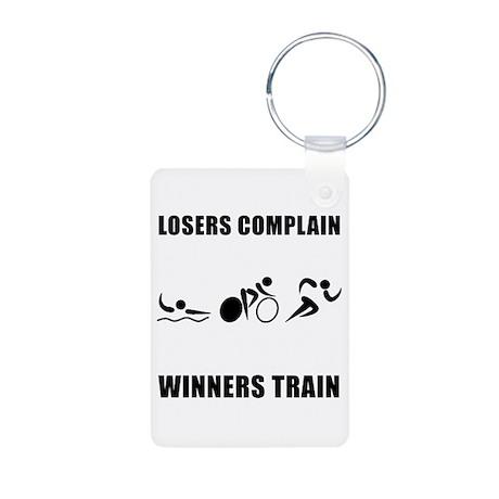 Triathlon Winners Train Aluminum Photo Keychain