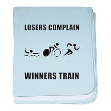 Triathlon Winners Train baby blanket