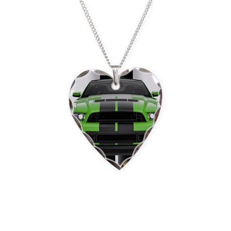 New Mustang Green Necklace Heart Charm