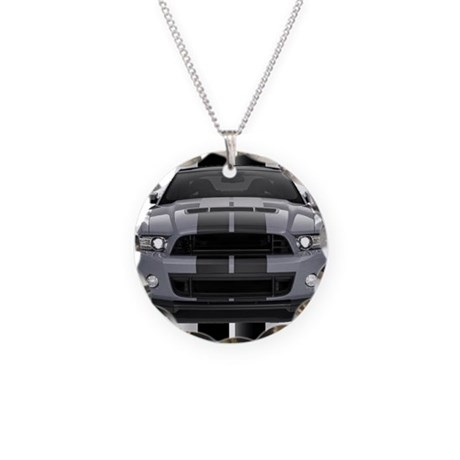 New Mustang GT Gray Necklace Circle Charm