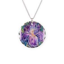 Iris, floral, art, Necklace Circle Charm