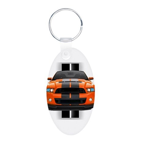 New Mustang GT Orange Aluminum Oval Keychain