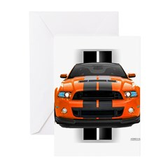 New Mustang GT Orange Greeting Cards (Pk of 10)