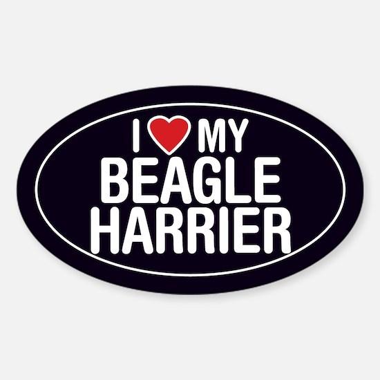 I Love My Beagle Harrier Oval Sticker/Decal