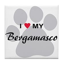 I Love My Bergamasco Tile Coaster