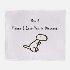 Rawr Means I Love You in Dino Throw Blanket