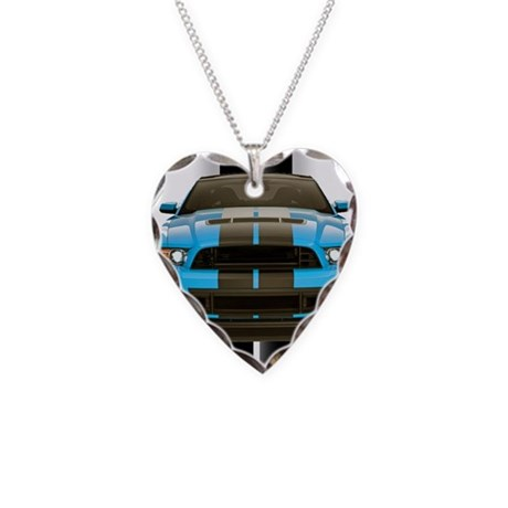 New Mustang Blue Necklace Heart Charm