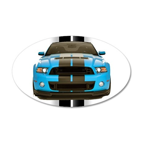 New Mustang Blue 38.5 x 24.5 Oval Wall Peel