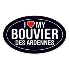 I Love My Bouvier des Ardennes Oval Sticker/Decal