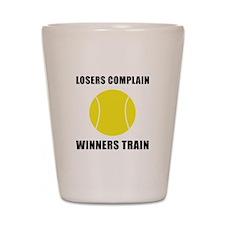 Tennis Winners Train Shot Glass