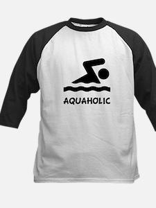 Aquaholic Swimmer Kids Baseball Jersey