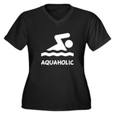 Aquaholic Swimmer Women's Plus Size V-Neck Dark T-