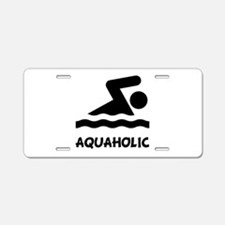Aquaholic Swimmer Aluminum License Plate