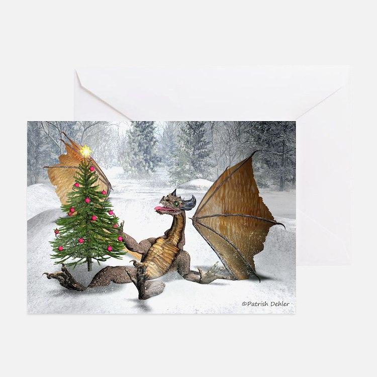 Dragon Christmas Tree Greeting Cards (Pk Of 20)