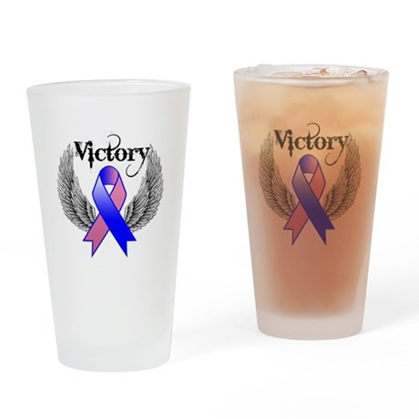 Victory Male Breast Cancer Drinking Glass