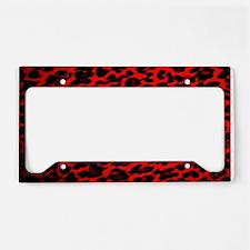 Red & Black Leopard Print License Plate Holder