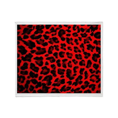 Red & Black Leopard Print Throw Blanket