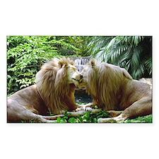 Affectionate Lions Sticker (Rectangular)