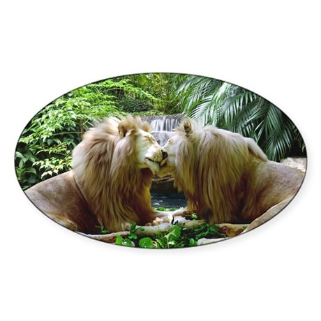 Affectionate Lions Sticker (Oval)