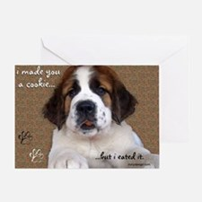St Bernard Puppy Cookie Greeting Card