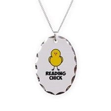 Reading Chick Necklace Oval Charm