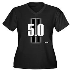 New 5.0 Women's Plus Size V-Neck Dark T-Shirt