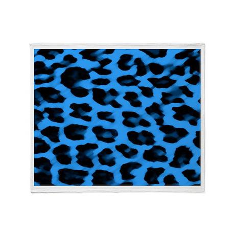 Dark Blue Leopard Print Throw Blanket