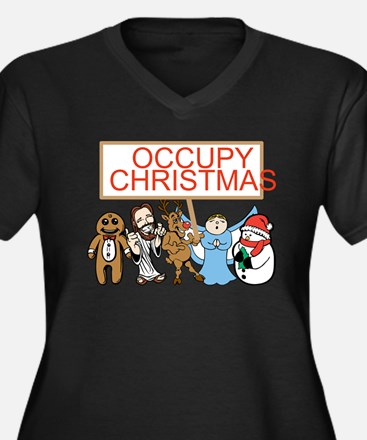 Occupy Christmas Women's Plus Size V-Neck Dark T-S