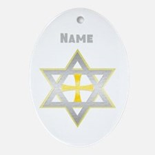 Star of David and Cross Ornament (Oval)
