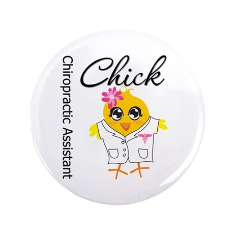 """Chiropractic Assistant Chick 3.5"""" Button (100 pack"""