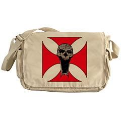 skull on red iron cross Messenger Bag