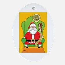Santa & Jesus Ornament (Oval)