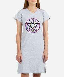 Wiccan Star and Butterflies Women's Nightshirt