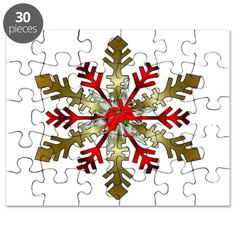 Gold and Red Snowflake Puzzle