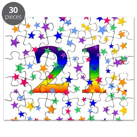 Rainbow Stars 21st Birthday Puzzle