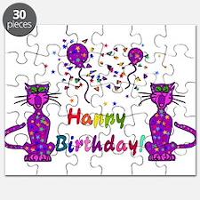 Purple Birthday Cats Puzzle