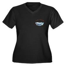 Water ski Women's Plus Size V-Neck Dark T-Shirt