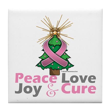 Breast Cancer Xmas Tree Ribbon Tile Coaster