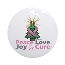Breast Cancer Xmas Tree Ribbon Ornament (Round)