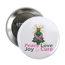 "Breast Cancer Xmas Tree Ribbon 2.25"" Button"