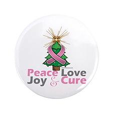 "Breast Cancer Xmas Tree Ribbon 3.5"" Button"