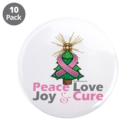 """Breast Cancer Xmas Tree Ribbon 3.5"""" Button (10 pac"""