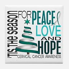 Christmas 1 Cervical Cancer Tile Coaster