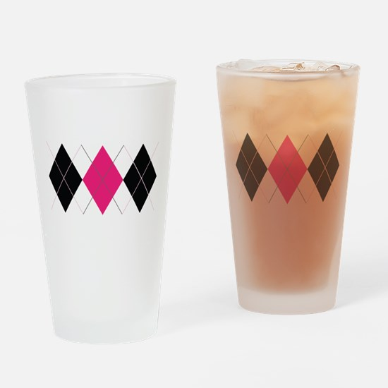 Pink and Black Argyle Drinking Glass