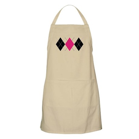 Pink and Black Argyle Apron