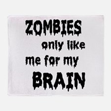Zombies Like My Brains Throw Blanket